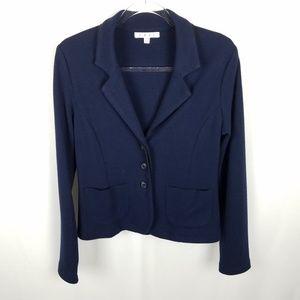 CAbi knit navy short jacket, black trim Size Med